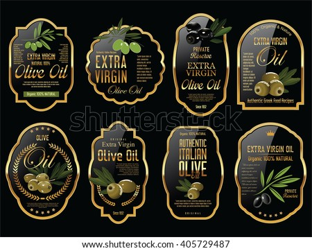 Olive oil retro vintage background collection - stock vector