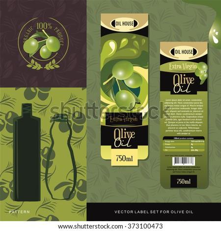 Olive Oil vector label set - stock vector