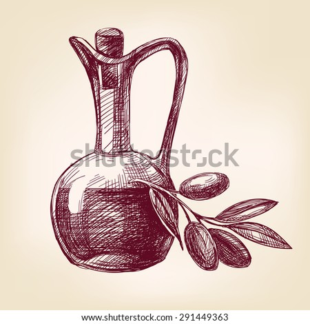 olive oil with olives hand drawn vector llustration realistic sketch - stock vector