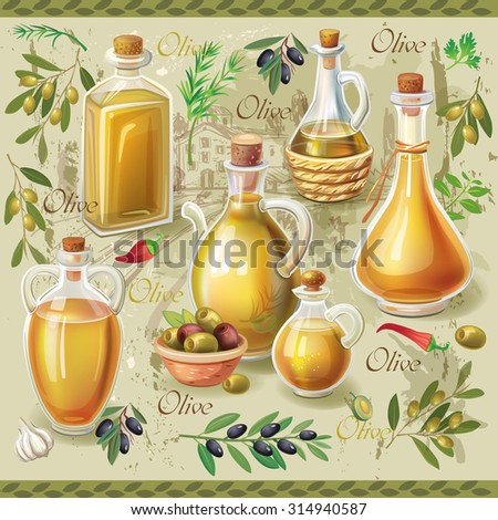 Olive set - stock vector