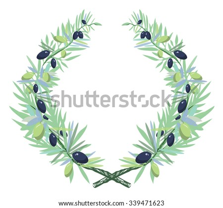 Olive wreath - stock vector