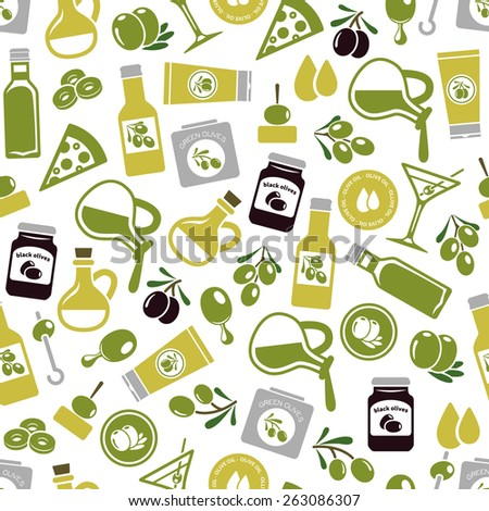 olives seamless pattern - stock vector
