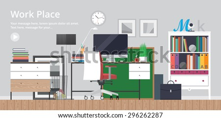 olorful vector banner. Workplace. Workspace. Quality design illustration, elements and concept. Flat style - stock vector