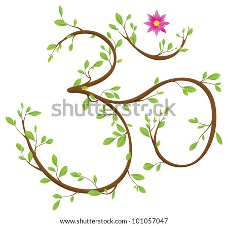 Om symbol made of twigs, leaves and a blossom. Om or Aum is a sacred syllable in Hinduism, Buddhism and Jainism - stock vector