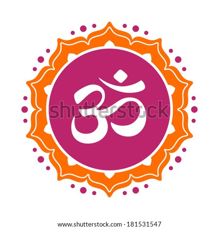 Om symbol omkara in Devanagari and Hindi style logo - stock vector