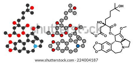 Omacetaxine mepesuccinate cancer drug molecule. Used in treatment of chronic myelogenous leukemia (CML). Stylized 2D rendering and conventional skeletal formula. - stock vector
