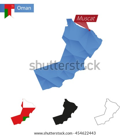 Oman blue Low Poly map with capital Muscat, versions with flag, black and outline. Vector Illustration. - stock vector