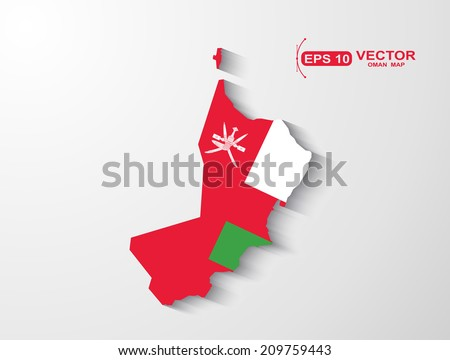 Oman map with shadow effect  - stock vector