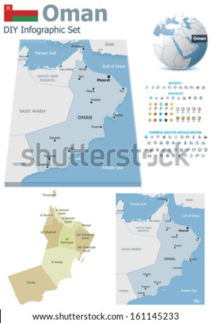 Oman maps with markers - stock vector