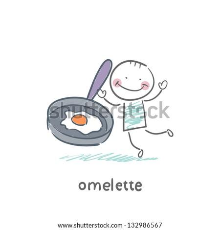 Omelette - stock vector