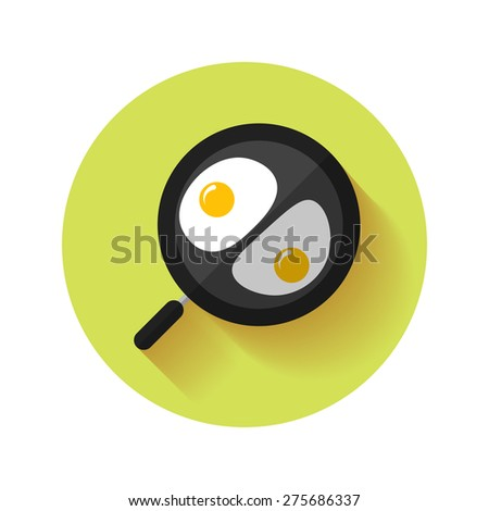 Omelette on pan. Flat vector illustration - stock vector