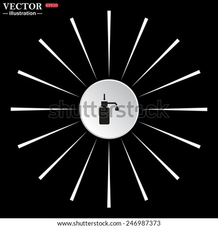 On a black background white circle with white rays. Shower Gel, Liquid Soap, Lotion, Cream, Shampoo, Bath Foam. , vector illustration, EPS 10 - stock vector