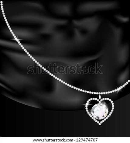 on a black silk is a jewelry heart-pendant - stock vector