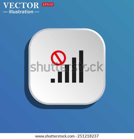 On a blue background white square with rounded corners. no signal, poor signal strength, signal strength indicator, vector illustration, EPS 10 - stock vector