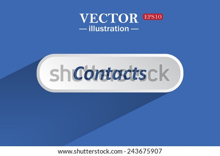 On a blue background with shadow, white button for a site. Contacts. Vector illustration, EPS 10 - stock vector