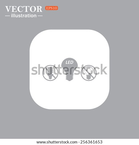 On a gray background gray icon,  fluorescent lamp, LED lamp, incandescent bulb ,vector illustration, EPS 10 - stock vector
