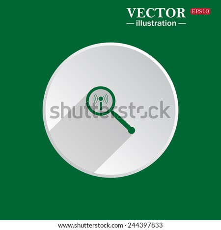 On a green background white circle with a shadow of the icon, Search wi-fi network , vector illustration, EPS 10 - stock vector