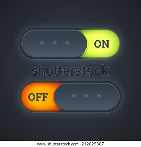 On and off switch toggle buttons with green and red lights. Vector illustration. - stock vector
