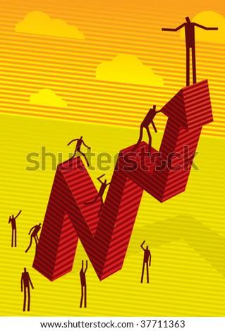 on chart - stock vector