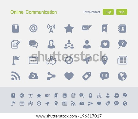 On-line Communication Icons. Granite Icon Series. Simple glyph stile icons optimized for two sizes. - stock vector