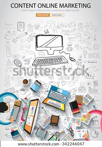 On line marketing concept with Doodle design style :finding ideas,social media advertising, creative slogans. Modern style illustration for web banners, brochure and flyers. - stock vector