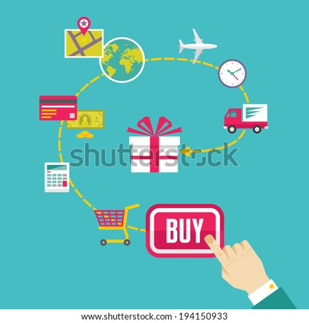 On-Line Shop and E-Commerce Creative Illustration - Vector Icons Set in Flat Design Style for presentation, booklet, web site etc.  - stock vector