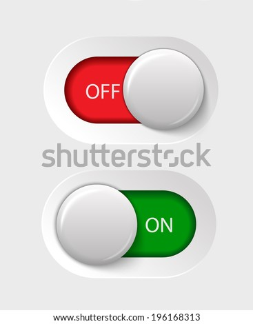 on - off switches, white with 3d effect, with red and green background, vector illustration, eps 10 with transparency - stock vector