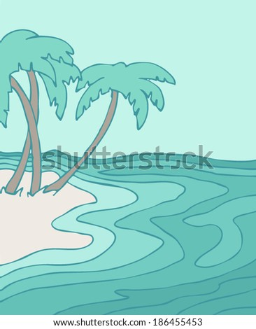 on the beach vector illustration, hand drawn - stock vector