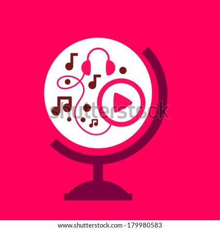 on the globe player. spread of music. - stock vector