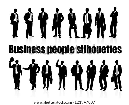 on the image silhouettes of business people are presented - stock vector