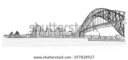 On the roofs of Sydney handdrawn sketch. Vector drawing - stock vector