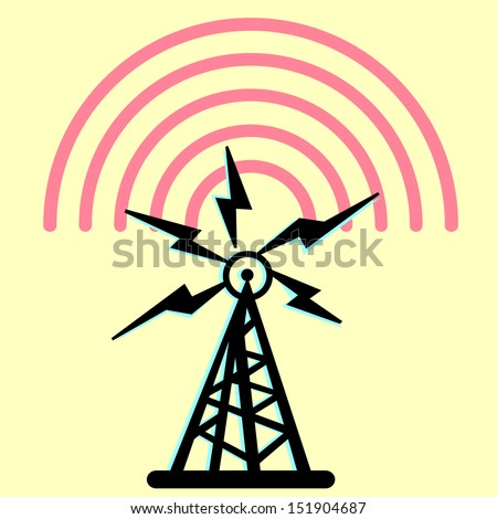 On this illustration a tower is represented radio with radio - stock vector