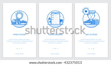 Onboarding  Kit. Modern user interface UX, UI screen template for mobile smart phone or responsive web site. Vector Illustration - stock vector