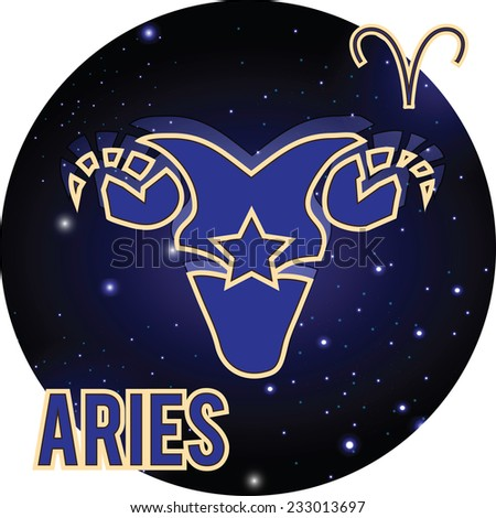 One Aries zodiac Sign. Horoscope. Constellations and stars, blue and white pattern on a black background.Graphic vector illustration in retro style. - stock vector