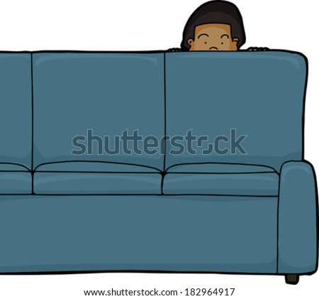 One Asian child peeking from behind sofa - stock vector