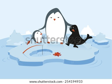 One big penguin is feeding a little penguin and a seal with fresh fish in a glacial environment with water and icebergs. - stock vector
