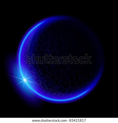 One blue planet in deep space. Black space. Blue Sunset. - stock vector