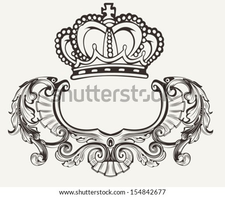 One Color Crown Crest Composition - stock vector