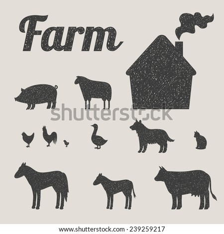 One color set of farm animals and country house  - stock vector