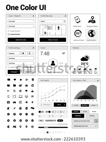 One color UI kit - user interface & design elements for responsive mobile websites / apps with set of icons, infographics, login, dashboard, form and other sample windows - stock vector