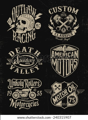 One color vintage motorcycle graphic set - stock vector