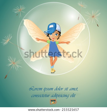 One cute little fairy in transparent soap bubble surrounded by dandelion seeds.  - stock vector