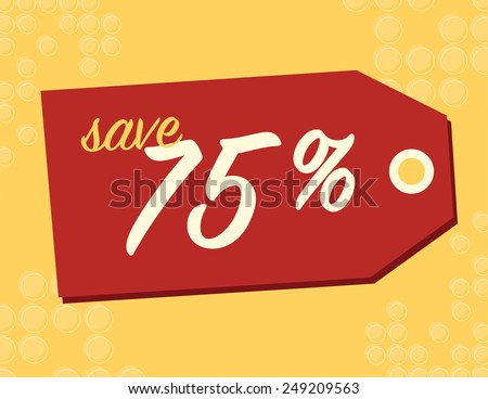 One day sale sign with 75% off original price - stock vector