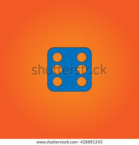 One dices - side with 6. Blue flat icon with black stroke on orange background. Collection concept vector pictogram for infographic project and logo - stock vector