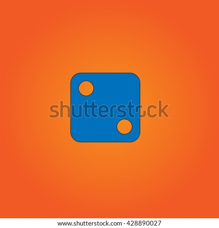 One dices - side with 2. Blue flat icon with black stroke on orange background. Collection concept vector pictogram for infographic project and logo - stock vector