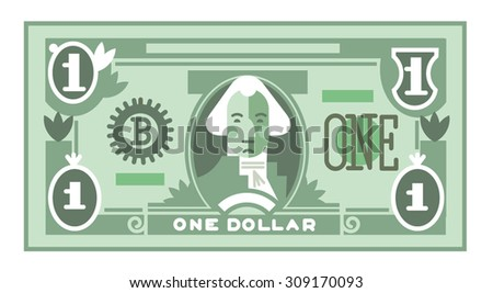 one dollar bill flat vector style - stock vector