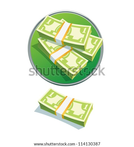 one dollar stack. Vector illustration. vector  money stack dollar - stock vector