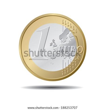 One EURO coin. Vector illustration - stock vector