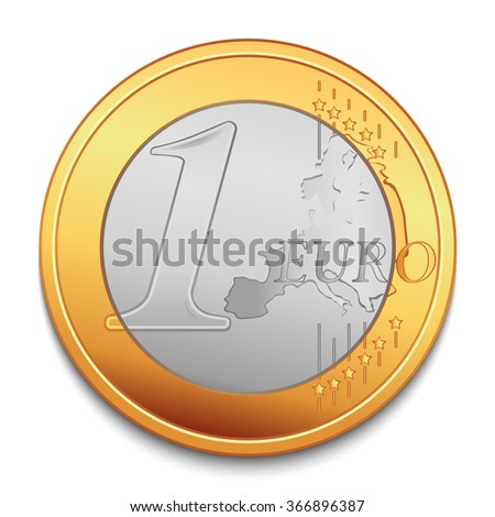 One Euro. Realistic vector coin illustration - stock vector