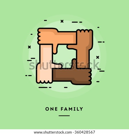 One family, flat design thin line banner, usage for e-mail newsletters, web banners, headers, blog posts, print and more - stock vector